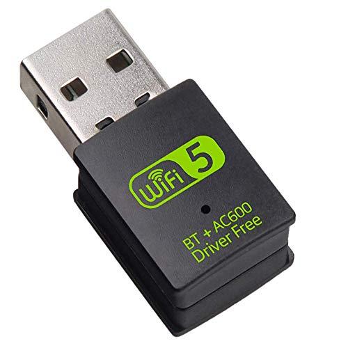 eaaerr Adaptador USB WiFi Bluetooth, 600 mbps de doble banda 2.4G/5G inalámbrico WiFi dongle receptor externo mini dongle tarjeta de red para ordenador portátil de sobremesa PC Win10/8/8.1/7