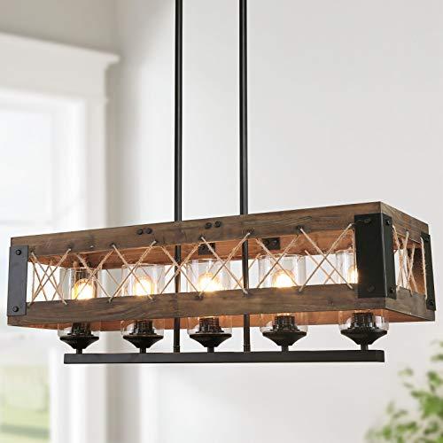 "LALUZ Kitchen Island Lighting Rectangular Wood Hanging Fixture, A03145, 32"" in Length, 5 Glass Globes"