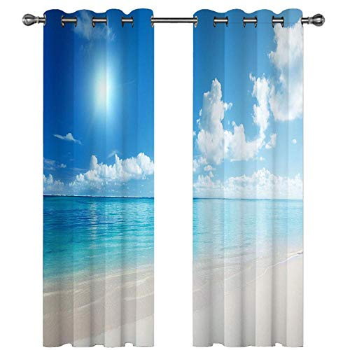 Bedroom Curtains Blue Sky Sea Beach 220215cm Soft Thermal Insulated Decorative Nursery Curtains Eyelet Blackout Curtains for Bedroom 2 Panels