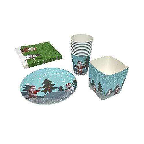 Amosfun 45 unids/set vajillas desechables de navidad platos de papel de navidad vasos para beber servilletas y...