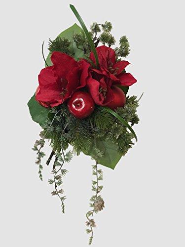 Weihnachtsstrauß Nr.7 - mit roten Amarillis - Strauss künstlich Winter - Liegestrauß Seidenblumen Handstrauß Blumenstrauss