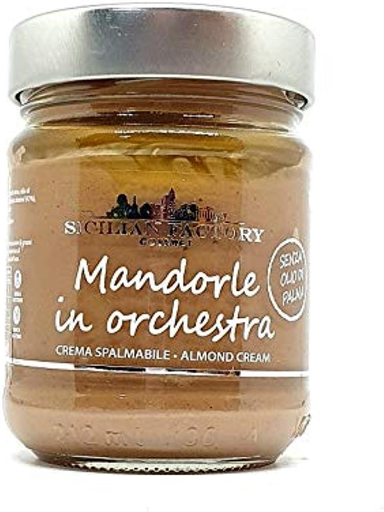 Sicilia bedda ,crema di mandorle siciliane, prodotto senza glutine, vegano, senza olio di palma (gr. 220)
