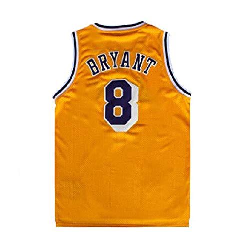 Gseras Youth Kobe Jersey Kid's Retro Jerseys Los Angeles 8 Boy's Basketball Jersey Yellow (M)