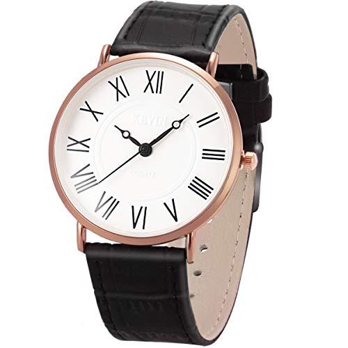 Wrist Watch Mens Ultra-Thin Minimalist SIBOSUN Quartz Black Leather Strap Classic Roman Numerals Anolog