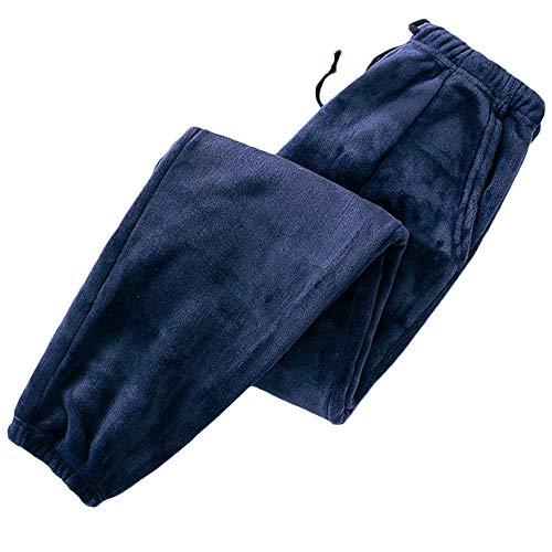 SOMTHRON Pantalones de pijama para mujer, informales, de invierno, con cintura elástica, con cordón azul marino XXL