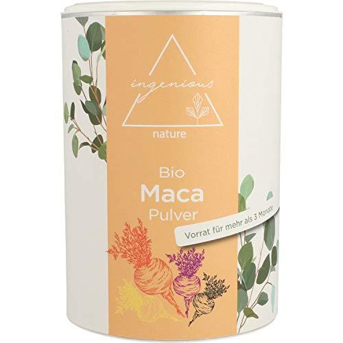 ingenious nature® Laborgeprüfter Bio Maca Pulver Mix 500g - aus den vier Maca Sorten gelb, rot, violett und schwarz, roh, aus Peru. Angebaut auf über 4400m. Vorrat für 100 Tage. (500g)