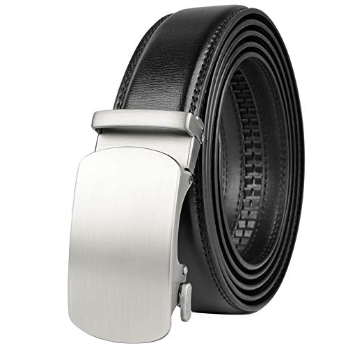 Drizzte Mens Plus Size 52inch Black Leather Belts Dress Belt for Work Silver Ratchet Automatic Buckle up to W44