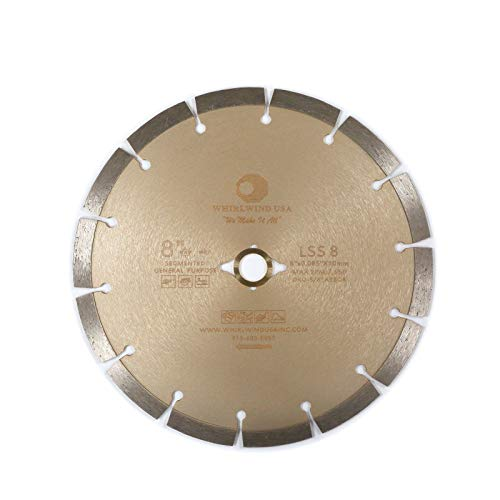 Compatible with Diamond Saw Blade, Whirlwind USA LSS 8 inch Concrete Saw Blade, Segmented Diamond Blades, Dry or Wet Cutting for Stone Brick Masonry Building Materials (LSS 8')