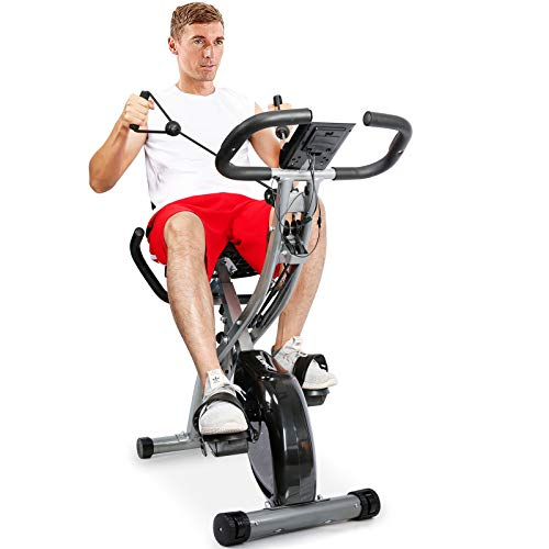 TELESPORT Magnetic Recumbent Exercise Bike with Arm Resistance Bands, Folding Indoor Cycling Stationary Bike with Pulse Monitor for Ipad Holder, 8 Level Resistance, Adjustable Seat & Transport Wheels