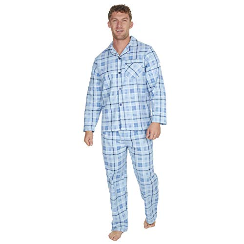 Herren Gebürstet Pure 100{b0f9e054c45d5aaf2adaf96aa337e9c07ee60df61c7fd217b0de84609fd3ec2b} Baumwollschlafanzug Winter Warm Flanell Thermo M L XL XXL - Blaue Streifen, XXX-Large
