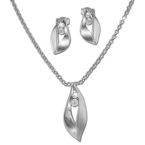 SilberDream Kette und Ohrringe Zirkonia Schmuck-Set 925er ECHT Silber SDS49143