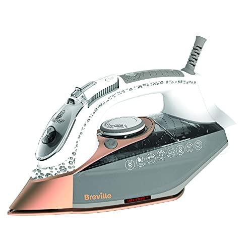 Breville plancha de vapor DiamondXpress | 2800 W | Suela de cerámica multidireccional de diamante | Depósito de agua de 400ml | Blanco y oro rosa [VIN420X]