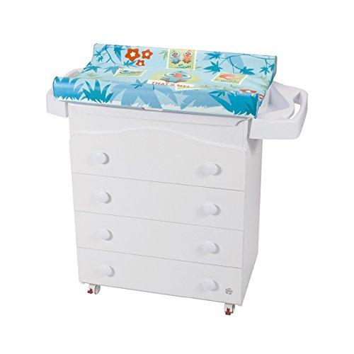 Cómoda con cambiador y bañera diseño de flores color blanco y azul