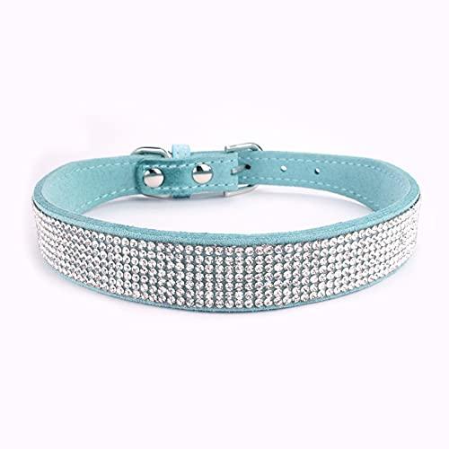 Collar con Pedrería para Perros y Gatos, Collar de Perro de Diamantes de Imitación, Collar de Colores Ajustable, Collar de Gato de Gamuza Suave