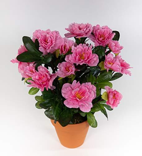 Seidenblumen Roß Azalee 24cm rosa-pink im Topf LA Kunstpflanzen Kunstblumen künstliche Blumen Pflanzen