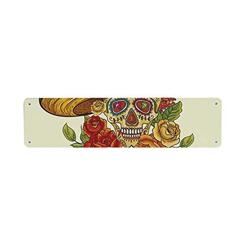 HNNT Suiker Schedel Decor VintageTin Sign, Schedel in Sombrero Traditionele Mexicaanse Cultuur Thema Rozen Dag van de Dode Decoratieve 40x10 cm Kennisbord voor Indoor Outdoor Yard Street Tekenen