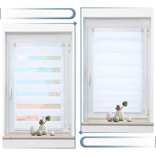Zarnan Doppelrollo Klemmfix 45x150cm(BxH) Weiß Sichtschutz,Rollos für Fenster Tür ohne Bohren Blickdicht und Sonnenschutz,Duo Rollo Fensterrollo innen Wandmontage auch möglich
