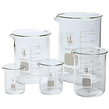 Karter Scientific 3.3 Boro Griffin Low Form Glass Beaker Set - 5 Sizes - 50ml 100ml 250ml 500ml 1000ml