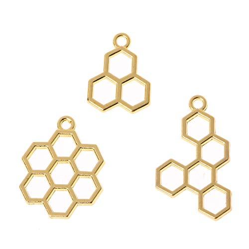 RK-HYTQWR 3Piece Bee Honeycomb Diy Metal Frame Pendant Open Bezel Setting Uv Resin Jewelry,Honeycomb Alloy Metal Frame,Gold