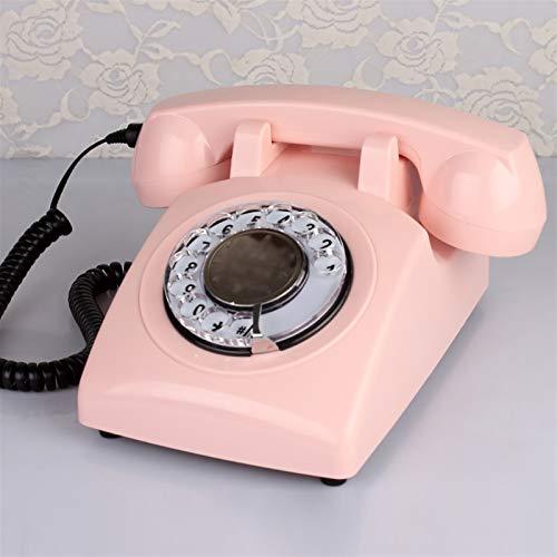 LYQQQQ Teléfono con Cable Teléfono Fijo Oficina doméstica, Teléfono Retro Rotary Teléfono Fijo Multi-Color Opcional 13CMX13CMX23CM (Color : Pink)