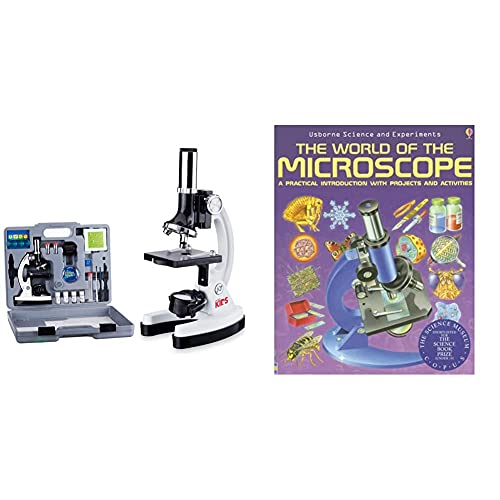 AmScope 120X-1200X 52-pcs Kids Beginner Microscope STEM Kit with Metal Body Microscope,White & The World of The Microscope A Practical Introduction with Projects and Activities