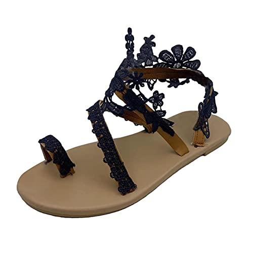 N/A/A Sandalias de mujer Dressy de encaje, planas, con punta abierta, estilo bohemio, para verano, estilo bohemio