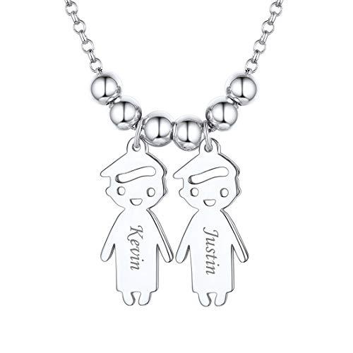 ChicSilver Namenskette Freundschaftskette mit 2 Jungen Anhänger 925 Silber Damen Herren Halskette mit Geschenkebox Kinder Geschenke