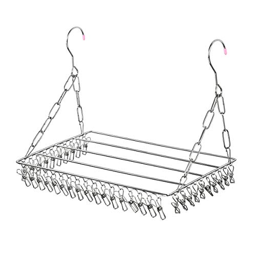 Estoder Multifunctional Clothes Drying Rack, Patented 36 Clips Stainless Steel Laundry Garment Drying Hanger for Hanging Clothes, Towels, Socks, Baby Clothes, Bra, Diapers, Scarf, Shoes, Potting