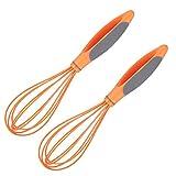 SLAKF 2 unids 10 Pulgadas de Silicona Huevo rotativo batidor Manual Manual de Huevo Crema batidor batidora Mezclador de Masa para la Cocina para la Cocina (Naranja) (Color : Orange)