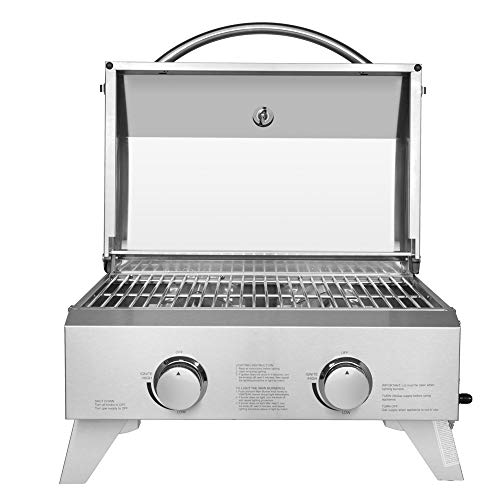 Portable Gas Grill, 430 Stainless Steel Propane Grill, Single Row Square Small Oven Outdoor BBQ Grill with Foldable Leg for Camping Picnics, 12000 BTU Grills Propane