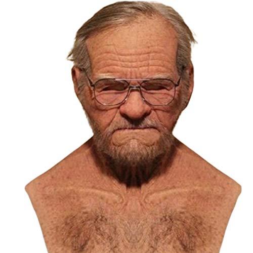 Stronrive Maske Alter Mann Halloween Latex Maske Mann Realistisch Opa Maske Alter Mann Kopfbedeckung The Elder Old Man Kopfbedeckung Falten Gesichtsmaske Vollmaske für Großvater Verkleidungen