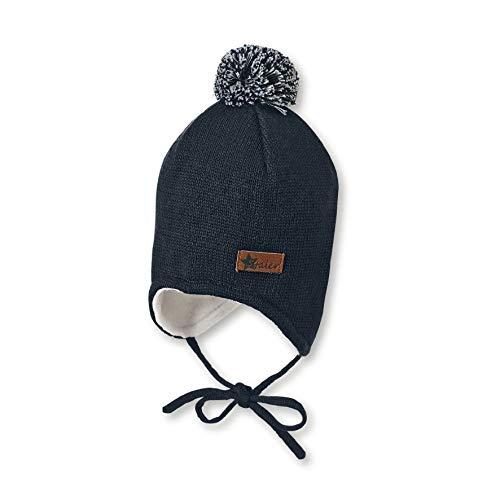 Sterntaler Mütze für Jungen mit Bommel und Ohrenklappen, Gefüttert, Alter: 5-6 Monate, Größe: 43, Blau (Marine)