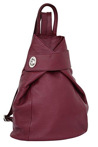 AMBRA Moda borsa a zaino da donna in vera pelle, zaino da città, zaino casual GL014 (bordò)