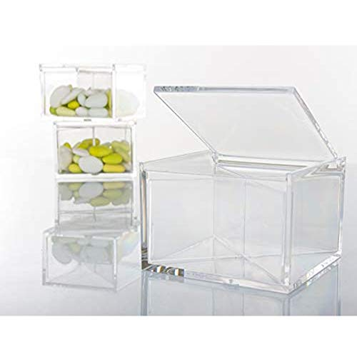 Aurora Store 24 Scatoline Portaconfetti 8x8x4cm Quadrati per Matrimonio Comunione scatole per Confetti bomboniere segnaposto in plexiglass Trasparenti da Decorare decoupage