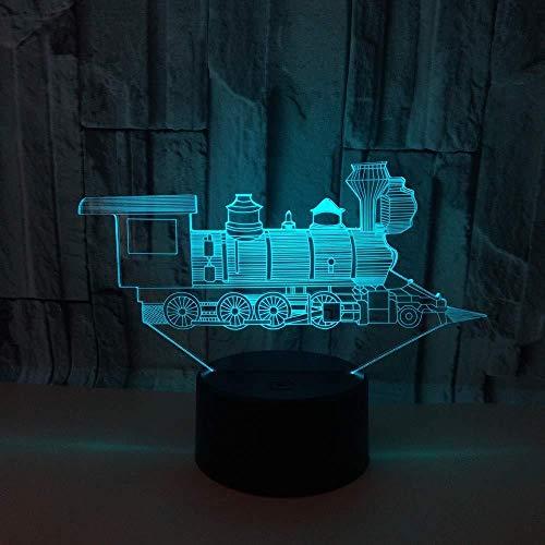 Locomotief Led-nachtlampje met USB-kabel, slaapkamer, eettafel, tafeldecoratie, cadeau, 7 lampen, illusie, kleur voor kinderkamer