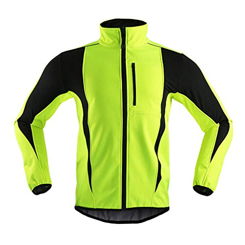 Pven Fahrradjacke Damen Winter Thermo Winterjacke Winddichte Wasserdicht Atmungsaktiv Gut Sichtbare Radjacke Fahrrad Jacken für Radfahren Joggen Wandern,Grün,L