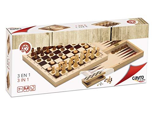 Cayro - 3 en 1 Ajedrez, Damas y Backgammon - Juego de Madera Tradicional - 648