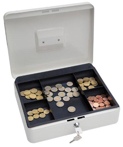 WEDO 145400X Geldkassette aus pulverbeschichtetem Stahl, versenkbarer Griff, 5-Fächer-Münzeinsatz, Sicherheits-Zylinderschloss, 30 x 24 x 9 cm, Weiß