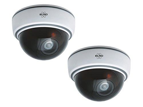 2er set Dome-Kamera-Attrappe weiß mit Blink LED, Batteriebetrieb, inkl. Montagematerial & Sicherheitsaufkleber