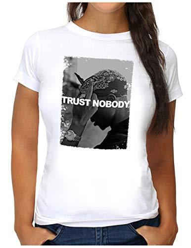 OM3® Trust-Nobody T-Shirt   Damen   Tupac Shakur Hip Hop Legend King of Rap Slogan   S, Weiß