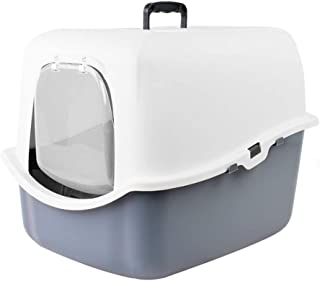 Pet Potty Cat Sandbox, Fully Enclosed Large Cat Litter Toilet Spacious Ideal for Larger Cat Breeds Or Multi Cat Households