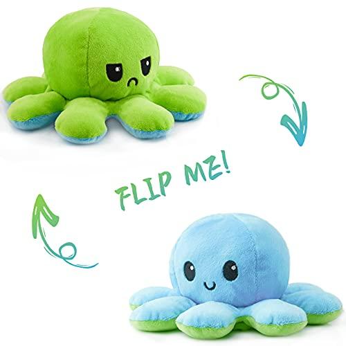 RAINBEAN Oktopus Plüsch Reversible Echtes Doppelseitiges Flip Oktopus Kissen Plüschie Weiche Niedliche Stofftiere Puppe Mit Reichen Ausdrücken Kreative Spielzeug Geschenke für Kinder