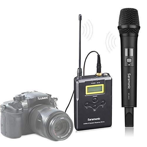 Saramonic UwMic15A Professionelles tragbares drahtloses UHF-Handmikrofonsystem für DSLR Kameras/Videokameras, kompatibel mit Canon/Nikon/Sony/Panasonic/BlackMagic/Zoom/Tascam