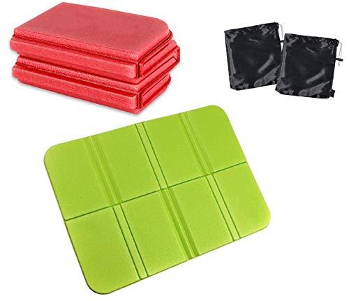 Voarge 2 Stück Sitzkissen Outdoor faltbar, Thermo sitzkissen, sitzkissen wasserdicht, Sitzunterlage isolierende, für Outdoor Garten Camping Picknick Wander (Blau, Rot) (Rot Grün)