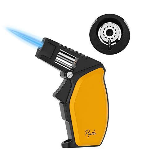 PIPITA Accendino Antivento, Accendino per Sigaro Grande Singolo Turbo Jet Blue Flame Fiamma Ricaricabile Gas Butano Accendino per Regalo Deluxe(Venduto Senza Gas) (Yellow)
