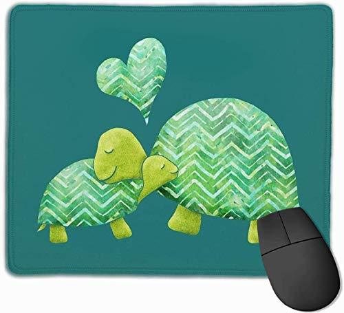 Zoete schildpad knuffels met hart in groene kalk groene en turquoise Gaming muismat anti-slip rubberen muismat voor computers desktops laptop muis mat 9.8