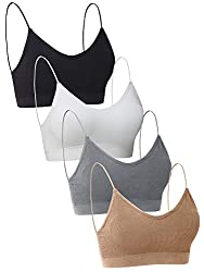 Multiple colors set: 4 colors sets for choosing, each package comes with four pieces V neck tube top, you can freely choose your like color style. Quality material: this tube top bra's material is polyester and spandex, which is elastic and soft, com...