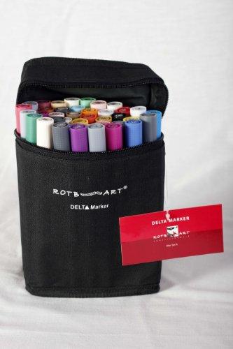 RotbArt DMS40A Delta Marker 40er Set A - 40-teiliges Farbset - plus praktischer Tasche