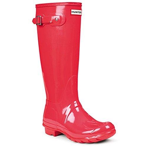 HUNTER Womens Original Tall Gloss Waterproof Wellington Winter Rain Boot - Bright Coral - 5