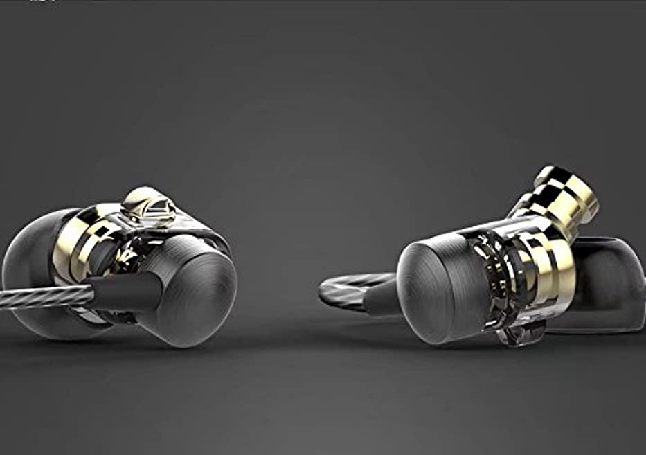 延期する代数不安定PND イヤホン デュアルサウンド カナル型 3.5mm 防汗/防滴/高音質 ステレオ ランニング用 ハイブリッドドライバ高性能 HIFI ダブルユニット重低音-イエロー